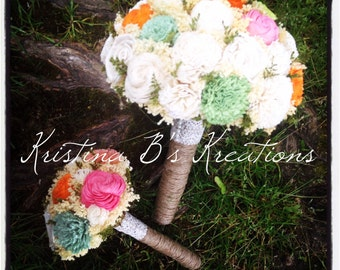 Romantic Large Bridal and X-Small  Bouquet Set of Ivory, Orange, Peach, Pink, Green and Mint Alternative Sola Flower Bouquets