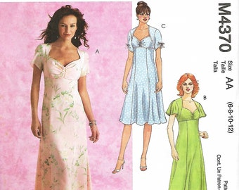McCall's 4370 Misses/Miss Petite Dress With Sweetheart Neckline in Two Lengths Sewing Pattern, Size 6-12, UNCUT