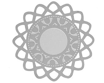 Set of 10 prints round steel SC71992 50mm Silver Flower charm