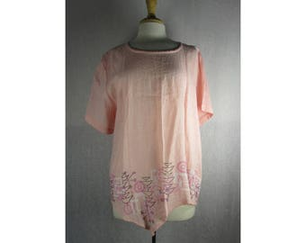 Angle Point Tunic Top - Blush Pink Hanky Linen XL by Blue Fish Red Moon Clothing Ready to Ship
