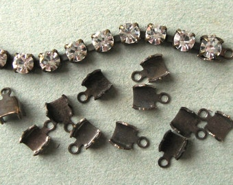 32-34PP (4.1-4.3mm) Crimp Ends for Rhinestone Chain Oxidized Brass Findings New (12)