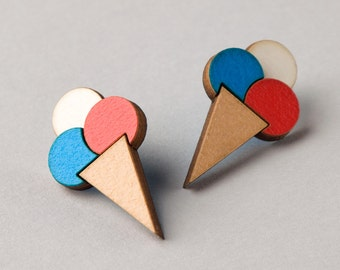 Ice Cream Cone Earrings: Red and Blue or Pink and Blue