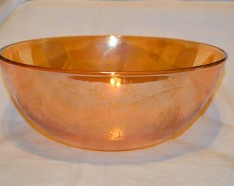 Jeannette Glass Floragold Iridescent Large Salad/Serving Bowl 1950s Retro Vintage #4188  ON SALE NOW!!
