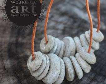 x 2 - Cement to BE FRIENDS - hand rolled cement beads - handmade - cement - grey necklace
