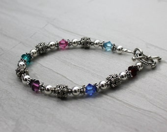 Sterling Silver and Swarovski Crystal Birthstone Bracelet