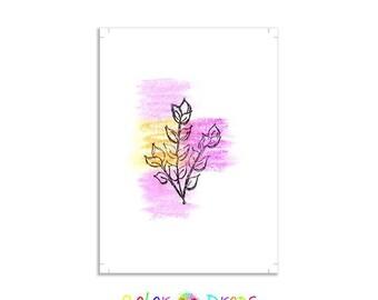 Greeting cards Digital cards Printable cards Purple orange cards Flowers cards