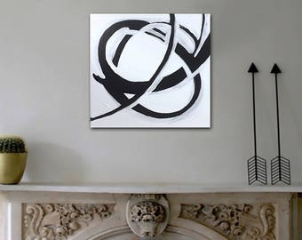 """original abstract black and white painting - modern boho decor - 12""""x12"""" acrylic on canvas - contemporary fine art - minimal - kinetic"""