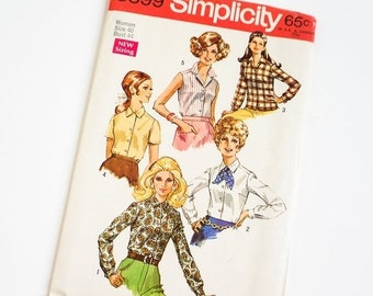 Shop SALE Vintage 1960s Womens Size 40 Blouses Simplicity Sewing Pattern 8399 FACTORY Folds / b44 w36