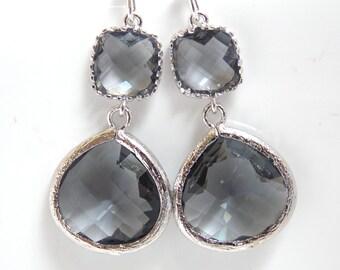 Gray Earrings, Grey Earrings, Silver Earrings, Charcoal Earrings, Wedding, Bridesmaid Earrings, Bridal Earrings Jewelry, Bridesmaid Gift