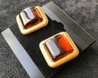 Red with Gold Trim Square Stud Earrings