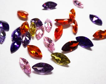 Cubic Zirconia - faceted, loose gemstones, 10X5mm pointed leaf, 10 pack
