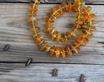 Chunky Gold Amber Necklace Genuine Baltic Amber Jewelry Honey Amber Gift for her