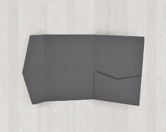 10 Mini Pocket Enclosures - Gray, Black & Silver - DIY Invitations - Invitation Enclosures for Weddings and Other Events