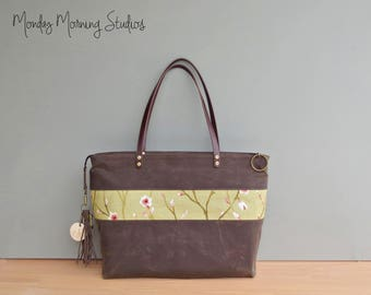Spring Floral Waxed Canvas Tote in Seal Brown with Pink and Green Cherry Blossom Flower Buds, Womens Large Zipper Tote with Leather Straps