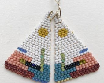 Desert moon beaded earrings