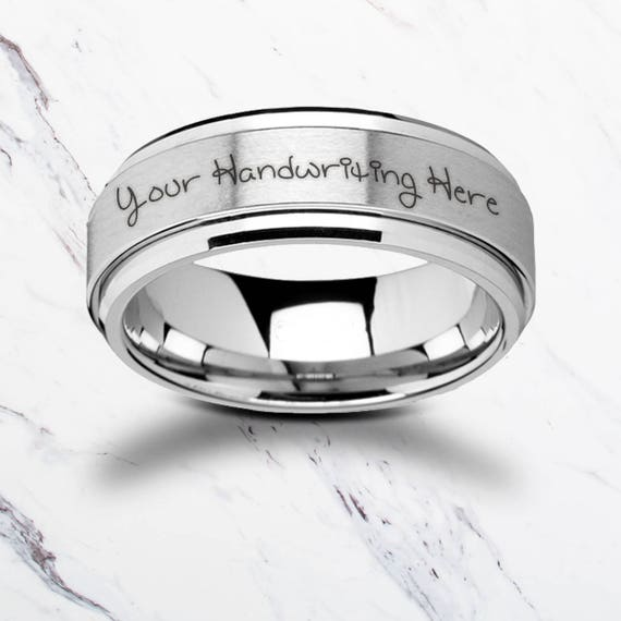 Personalized Engraved Handwritten Spinner Tungsten Ring Spinning Satin Center Finish & Polished Edges  - 8mm - Lifetime Size Exchanges