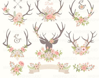 Antlers Clipart WEDDING ANTLERS CLIPART With Flower Clip Art Rustic Antler Pink Flowers 13 Images 300 Dpi Png Files
