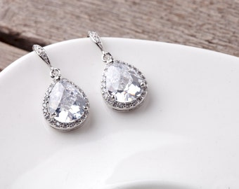 ONE (1) Pair.  Pear Cubic Zirconia LARGE Lux Framed Teardrop Rhodium Plated Bridal Wedding Earrings. Bridesmaids Gifts, Modern, Pear Glass