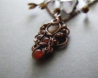Pendant Tutorial, Wire Wrapping Pattern, Autumn Jewelry Tutorial, DIY, Fall Necklace Tutorial