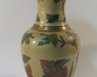 Copper enamel, cloisonné pattern vase