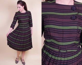 Vtg Dark Brown Striped (late) 50s Dress M - 30''/76cm waist