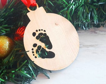 Personalized Birch Wood Baby Feet Christmas Ornament Custom Bauble Engraved laser etched Footprint Laser cut Blank