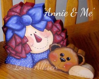 Raggedy Ann, Raggedy Annie, Raggedy Anne,Teddy Bear, painting pattern instant download