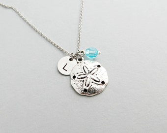 Sand Dollar Initial Necklace Personalized Hand Stamped - with Silver Sand Dollar Charm and Custom Bead