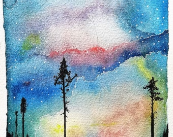 Colorful Starlight Sky - Watercolor and Gouache