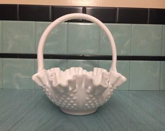 Authentic Fenton Hobnail Ruffled Milk Glass Bride's Basket