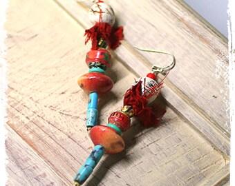 Mixed Media Assemblage Earrings with Sari Silk, Gypsy Earrings, Tribal Stacked Bead Earrings, Rustic Bohemian Earrings, OOAK Art to Wear