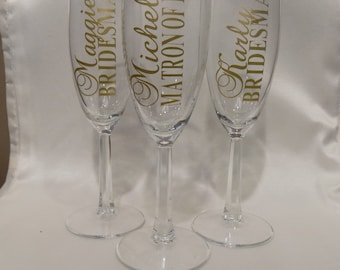 Bridal Party Champagne Glasses, Bridesmaid Maid of Honor Mother of Bride Gifts, Champagne Toast, Wedding Champagne Flutes, Personalize