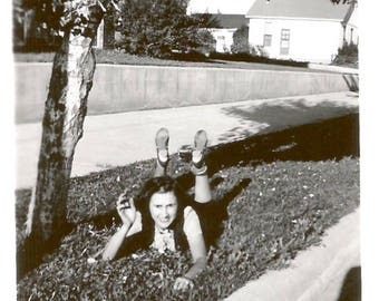 "Vintage Snapshot ""Oh, Hello"" Pretty Girl Reclining Legs In Air Original Found Photo Vernacular Photo"