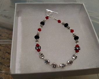 "Sterling Silver and Swarivski Crystal ""Mom"" Bracelet"