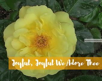 Joyful, Joyful We Adore Thee - Yellow Botanical Garden Flower -Instant Download