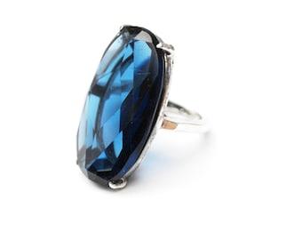 Blue Glass Sterling ring - Sapphire Cobalt  art glass - Size 5 - Silver statement ring