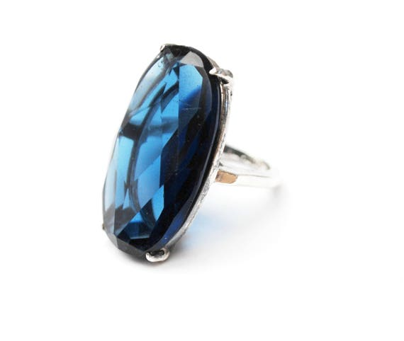 Large Blue Glass Sterling ring - Sapphire Cobalt  art glass - Size 5 - Silver statement ring