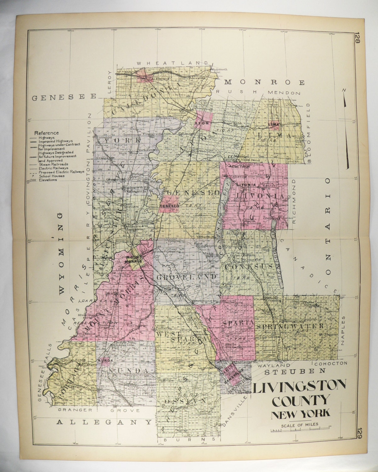 Old Livingston County NY Map New York County 1912 Large