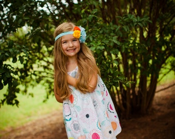 Girls Flower Pop Print Dress - Girls Boutique Dress - Children's Clothes - Girls Clothing - Children's Clothes - Girls Summer Dress - Cute