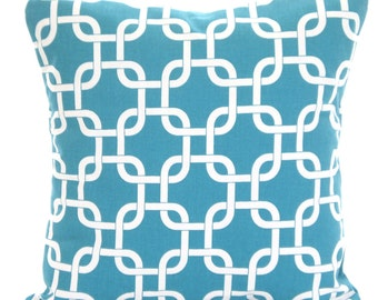 Turquoise Pillow Covers, Throw Pillow, Cushion Covers True Turquoise White Geometric Gotcha, Euro Sham Couch Bed Sofa, One or More ALL SIZES
