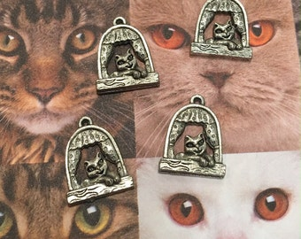 Cat in a Window Charms -4 pieces-(Antique Pewter Silver Finish)