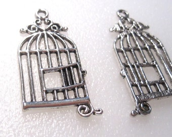 12 Bird Cage Charms Antique Silver Tone C1056 F16
