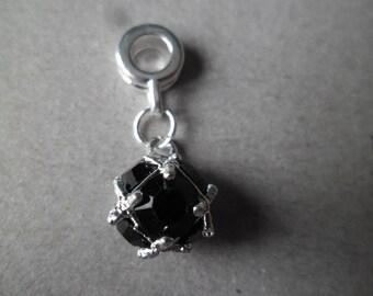 x 1 pendant Crystal birthstone color black 26 x 10 mm