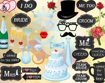 INSTANT DOWNLOAD Digital Wedding Photo Booth Props Chalkboard Wedding Photobooth Prop Party Photo Booth DIY Bride Groom Mr. Mrs.  0227