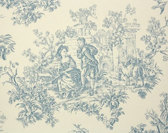 1970s Vintage Wallpaper by the Yard - Blue Toile on Cream