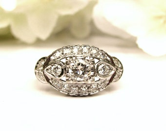 Antique Art Deco Engagement Ring Transitional Cut 0.71ctw Diamond Cluster Wedding Ring 14K White Gold Ring Size 5