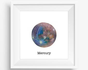 """Printable watercolor painting, featuring planet Mercury. 2 instant download JPEG files included: one with """"Mercury"""" in black text, one plain"""