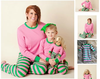 On Sale NOW while supply last - Personalized Pink and Green Chistmas Family Pajama's,Monogrammed Holiday Pajamas,Monogrammed Kids PJ's