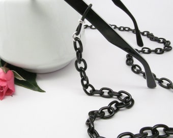 Chunky Black Glasses Chain; eyeglass chain; reading glasses necklace holder; glasses leash; reading glasses holder; spectacles holder
