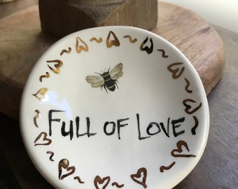 Bee Full of Love 22K gold detail Handmade Ceramic Dish for Rings or Spoon Rest or Desk Accessory